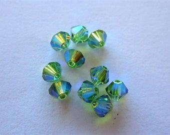Genuine Crystal erinite swarovski bicone Austrian color erinite 4 mm set of 10 jewelry creations, embroidery, crafts