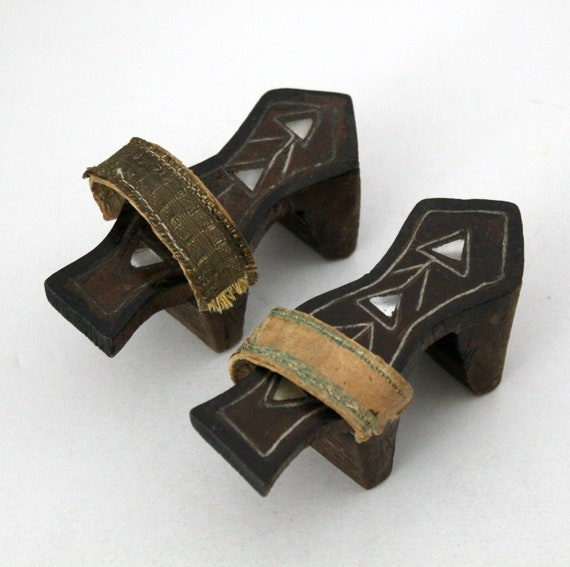 Antique Turkish Ottoman Hammam Bath House Stilt Shoes, Inlaid Wood Hamam Shoes