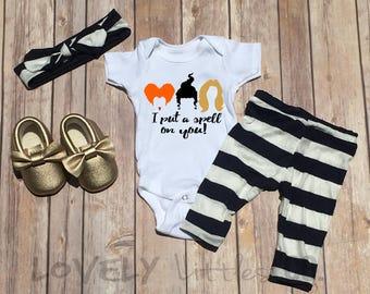 First Halloween Onesie,Baby Halloween Outfit,Halloween baby leggings,Hocus Pocus Onesie,Top Knot, Halloween, Sanderson Sisters,baby leggings