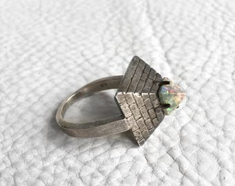 Gray Boulder Opal Pyramid Ring Sterling Silver Egyptian Pyramid Statement Ring with Hypnotising Opal Capstone Sterling Silver Opal Jewelry