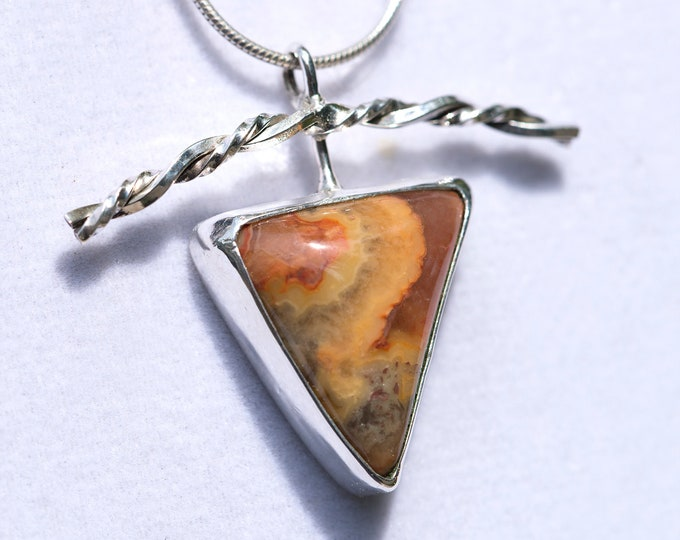 """Featured listing image: """"Crazy Lace Agate"""" Handmade Sterling  Pendant"""