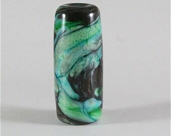 Handmade Lampwork Glass Bead SRA Organic, Black, Aqua, Green, LE Team, DUST Team