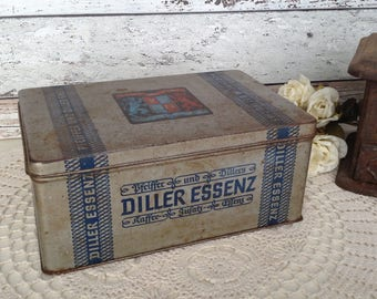 Vintage Coffee Tin Can, Diller Essenz, rare 1930s Worms, Germany, rusty metal container with lions crest & hinged lid. Rustic, Shabby chic