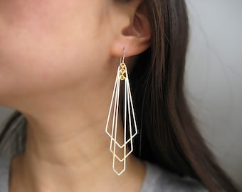 Gold Geometric Statement Earrings - Art Deco Fan Wedding Earrings, modern minimalist - Tiered Arrows Large