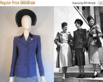 Bi-Annual Sale 35% Off Doing Our Bit for the War - Vintage 1940s WW2 Cadet Blue Wool Jacket w/Velvet Collar - 4