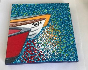 Original Dotty Boat Acrylic Painting