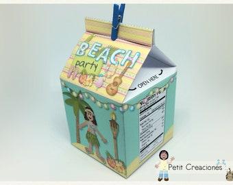"PRINTABLE MILK Carton ""Tropical Paradise"" DIY, gift idea, placeholders, favor box, treat box, gift box for Tropical party"