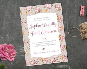 Vintage Dusky Pink Floral Wedding - invitation, save the date or RSVP