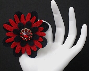 Drew (Funky Felt Flowers Cocktail Ring)