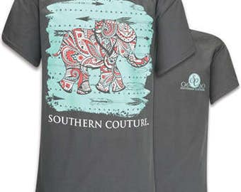 Southern Couture Paisley Elephant short sleeve tee shirt NEW