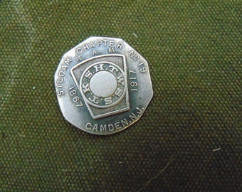 Masonic Shekel Silver Coin Camden NJ Chapter No 19 Memento dated 1867 to 1917. 1867 was the founding year of this lodge.