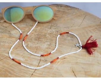 Beaded Sunglass Strap   White Sun Strap   Eyeglass Seed Bead Chain with Tassel   Sunglasses Lanyard   Beaded Eyeglass Cord   Sunnies Strap