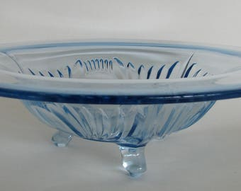 1930s Bowl Paden City Maya Bowl Blue Depression Glass Footed