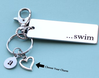 Personalized Swimming Key Chain Stainless Steel Customized with Your Charm & Initial -K529