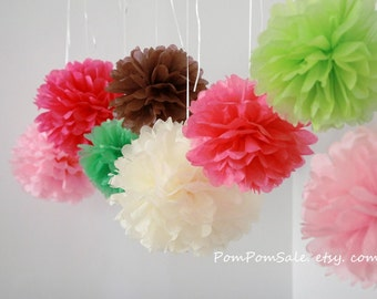 50 Small Tissue Pom Poms - Choose Your Colors - Fast Shipping - On Sale