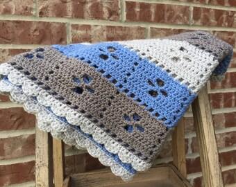 Midwife Blanket, Baby Blanket, Baby Nursery Decor, Baby Boy Blanket, Blue Blanket, Grey Blanket, Crochet Afghan, Baby Afghan