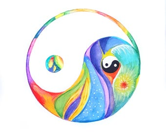 Yin Yang Art, Yoga Wall Decor, Yogi, Zen Decor, Spiritual Art, Motivational Wall Decor, Teacher Gift, Yoga Gifts, Canvas Wall Art