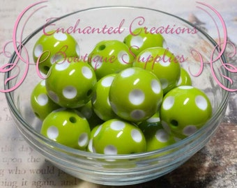 20mm Lime Green With White Dip Polka Dots Qty 10, Chunky Beads, Bubblegum Beads, Gumball Beads, Chunky Jewelry Beads, Acrylic Beads