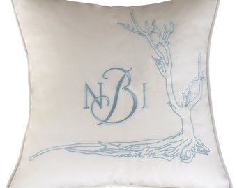 embroidery pillow wedding crest something blue Sunbrella linen cotton custom design wedding shower anniversary