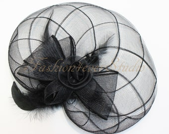 Black Headpiece 11 inches, Flower Fascinator, Feather Headpiece, Flower Fascinator, Feather Fascinator, With Hair Clip and Brooch Pin Back