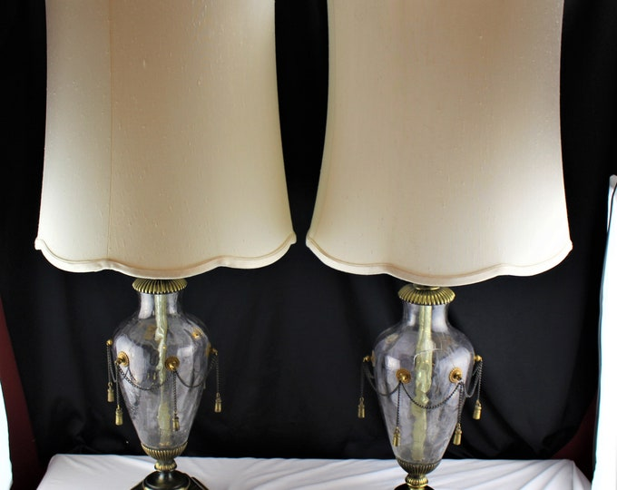Pair Leonard R. Foss Table Lamp Murano Glass and Brass Original Shades-Lighting Home Decor