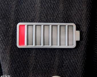 Battery Run Down enamel pin - Invisible Illness, disability