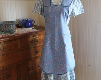 Blue and Pink Calico Vintage Style Apron -Ready to Ship