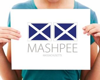Mashpee - Massachusetts - Nautical Flag Print