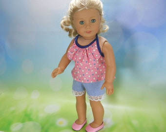 18 inch doll clothes, 18 inch doll summer outfit, 18 inch outfit, clothes for 18 inch doll, READY TO SHIP, Halter Top and Shorts, 04-2930