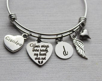 Grandpa - Your Wings Were Ready My Heart Was Not Bracelet, Grandpa Memorial Bracelet, Grandpa Loss Jewelry, Grandpa Memorial, Grandpa Loss