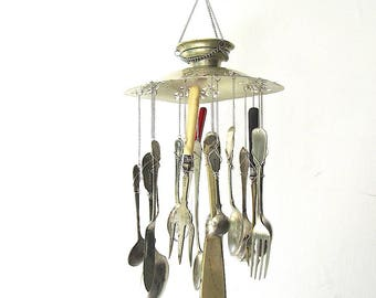 Fish And Chips Windchime, Hand Stamped Upcycled Wind Chime, Vintage Silverware, Handstamped Cutlery, Kitchen Food Themed Mobile