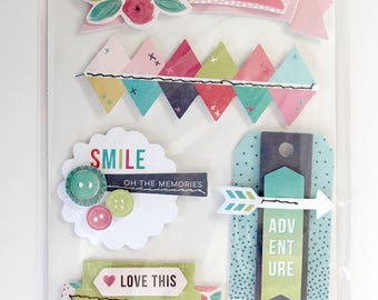 Pink Paislee Fancy Free -- 6 3D Layered Stickers -- Paige Evans -- American Crafts -- 310218