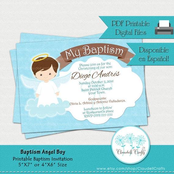 Well-liked Baptism Angel Boy Printable Invitation / Card / Invitación BM92