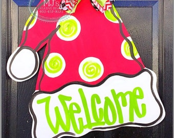 Santa Hat Door Hanger- Christmas Door Hanger, Holiday Door Decor