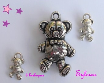 3 Teddy bear 3D / 35 and bear 15 mm sterling silver