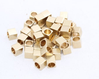 25 Pcs 5mm Raw Brass Cube Beads, Solid Brass Cube Beads, industrial spacer, Spacer Beads, KA44