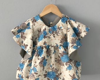 Ready to Ship, Cabriite Girls Tunic, Floral Tunic, Ruffle Top, Girls Cream Blue Top, Infant Top, Girls Short Sleeve, Kid Top, 6 months