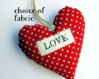 Love Heart Decoration / Ornament / Valentine's Gift / Love Sign - Fabric Heart - Choice of Fabric. Supplied Gift Boxed - Lavender scented