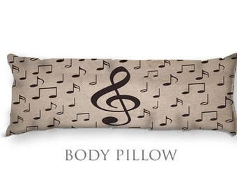 Music Note Body Pillow-Musical Notes Bed Pillow-Music Decor-Notes Body Pillow Cover-Large Pillow Cover-Teen Room Decor-Band Gift Ideas