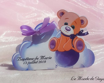 Dragees box theme Teddy bear / bear purple / violet on cloud for baptism