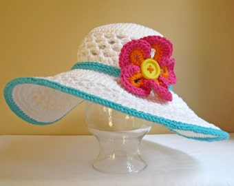 CROCHET PATTERN - Aloha - a crochet sun hat pattern, beach hat, summer hat pattern in 4 sizes (Child, Adult S, M, L) - Instant PDF Download