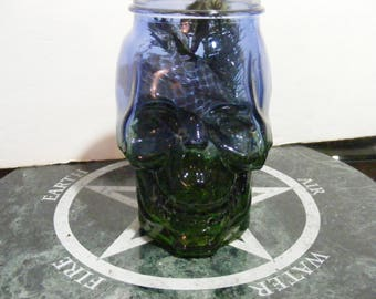A Witches Protection Bottle, Saturn Magic Squares, Tektite, Skull Jar, Witch Bottle, Tormulated Quartz, Charged, Planetary Magick