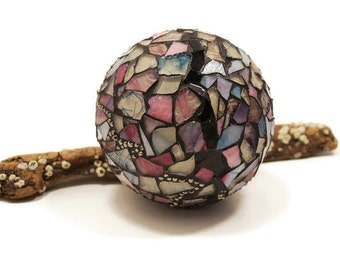 Gazing Ball, Crystal Ball, Home Decor, Romantic Decor, Mosaic Orb, Garden Orb, Purple Meditation Ball, Stained Glass Globe, Mosaic Globe