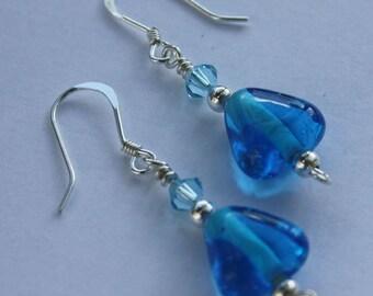 Teal Blue Bead Earrings, Blue, Turquoise, Aqua, Glass Beaded Earrings, Sterling Silver