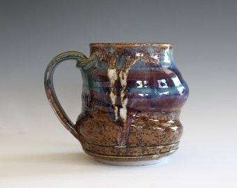 Coffee Mug Pottery, 12 oz, handthrown ceramic mug, stoneware pottery mug, unique coffee mug