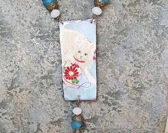 Vintage necklace print Japanese blue cat with tassel