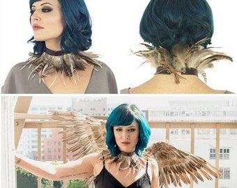 Night Owl Costume Set with Wings and Choker Zucker Feather Place Original Designs