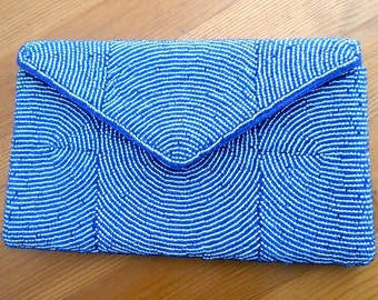 Vintage Blue French Bead Envelope Clutch