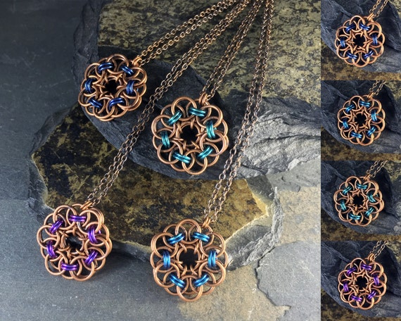 Persephone Necklace Colors Custom Options Hand Aged Bronze
