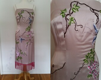 Vintage Blush Rose Lilac Embroidered Satin Wiggle Dress with Spaghetti Straps and Fuchsia Fringe